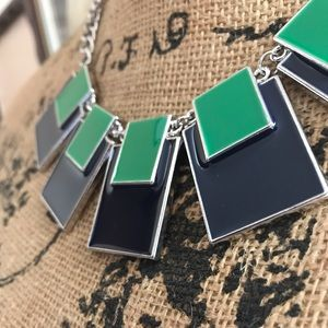 New York & Company Navy, Green, Silver Necklace